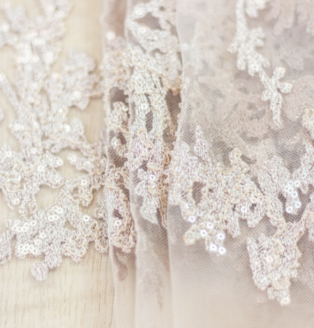 Nude organic pattern embroidery with sequins on tulle fabric. Photo 10