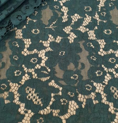 Dark green cotton guipure lace fabric. Photo 1