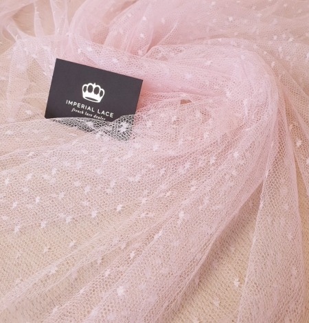 Light pink dotted tulle fabric. Photo 10