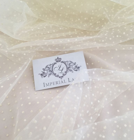 Creme color tulle fabric with dots. Photo 4