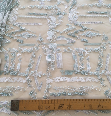 Mint green beaded embroidery . Photo 8