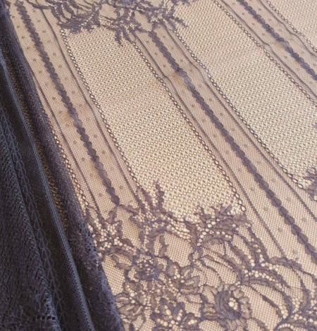 Navy blue lace fabric, French lace fabric. Photo 4