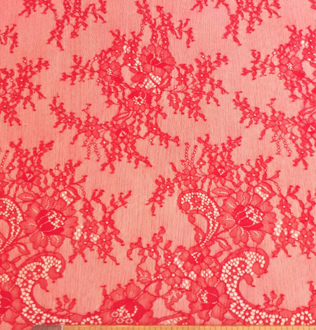 Apple red lace fabric. Photo 5