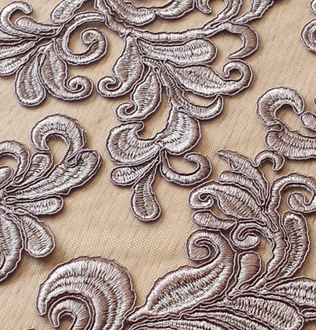 Grey embroidery lace fabric. Photo 5