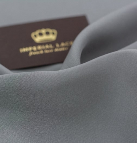 Grey greenish Mulberry silk crepe fabric. Photo 5
