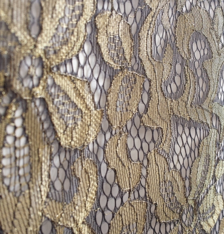 Black with gold Lace Fabric. Photo 2