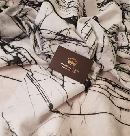 White and black marble pattern silk crepe chiffon fabric . Photo 3