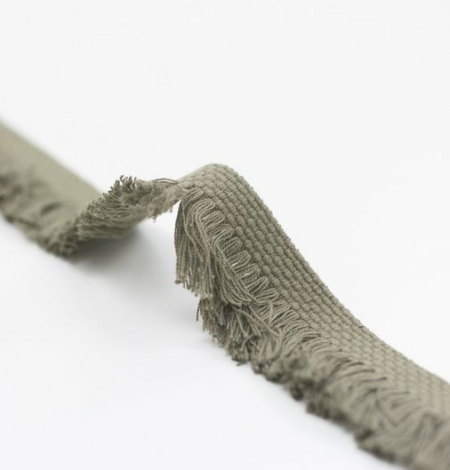 Olive green ribbon with fringes on one side. Photo 1