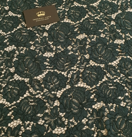 Dark green cotton polyester chantilly lace fabric . Photo 4