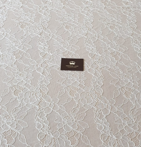 Ivory chantilly lace with thick thread lace fabric . Photo 9