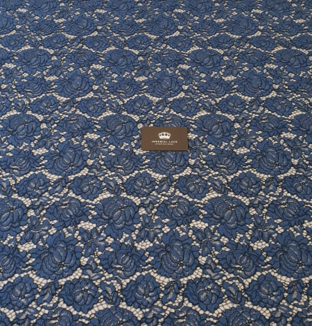 Dark blue cord thread lace fabric. Photo 9