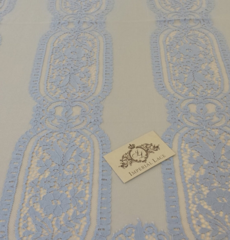 Blue chantilly lace fabric . Photo 3