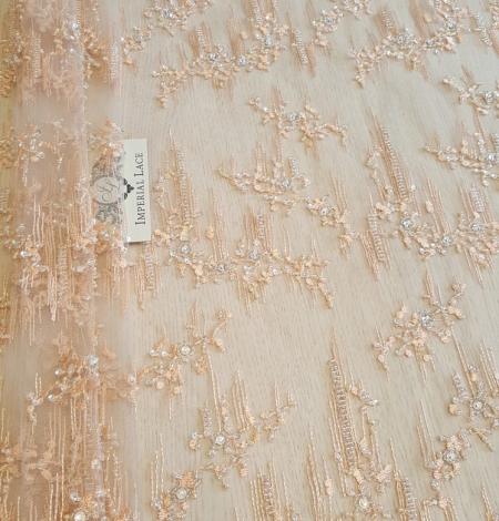 Peach beaded lace fabric. Photo 2