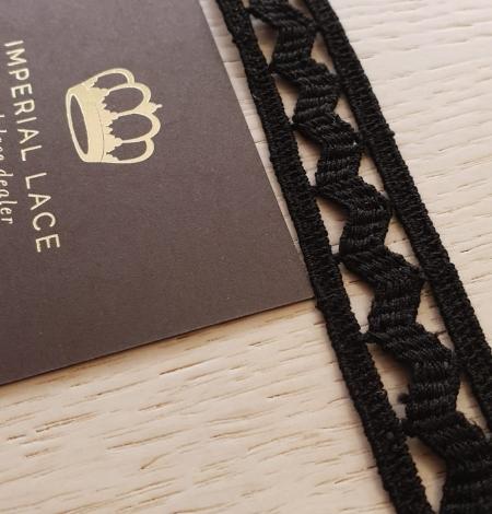 Black cotton macrame lace trimming. Photo 1