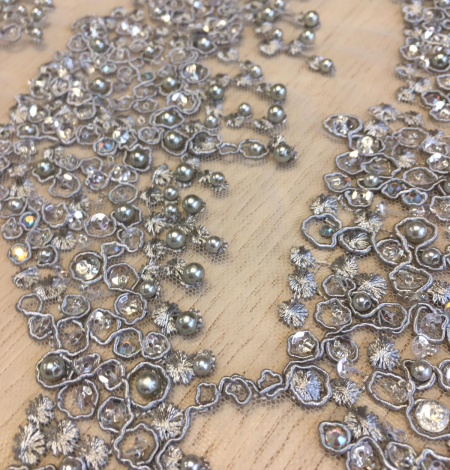 Grey beaded embroidery on tulle. Photo 2