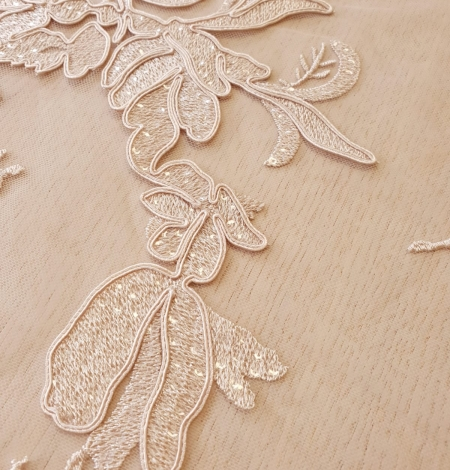 Beige sequin embroidery on soft tulle fabric. Photo 4