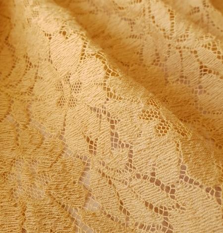 Mustard yellow 100% wool guipure lace fabric. Photo 5