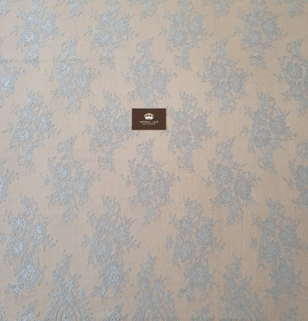 Bluish grey floral pattern chantilly lace fabric. Photo 6