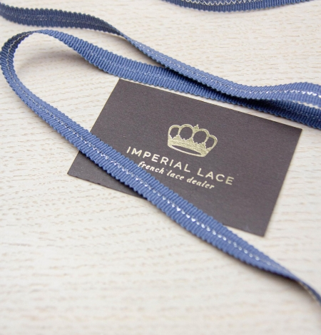 Greyish blue with silver thread in middle grosgrain ribbon. Photo 3