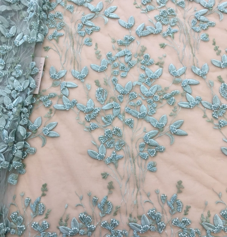 Mint green organic leaf pattern embroidery lace fabric. Photo 1
