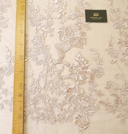 Dark powder nude floral pattern embroidery on tulle fabric. Photo 10