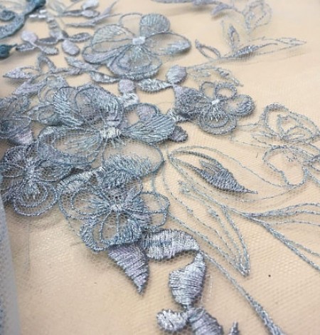Blue grey flowers lace fabric. Photo 5