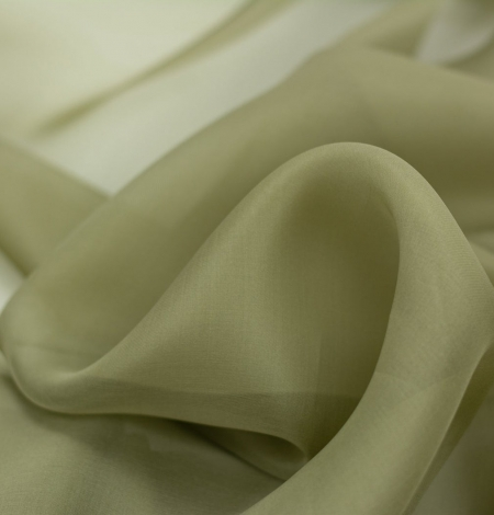 Olive green silk organza fabric . Photo 2