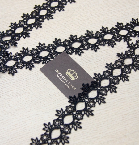 Melna floral pattern macrame lace trimming . Photo 4