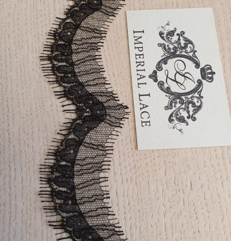 Black natural chantilly lace fabric by Jean Bracq. Photo 6