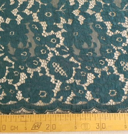 Dark green cotton guipure lace fabric. Photo 8