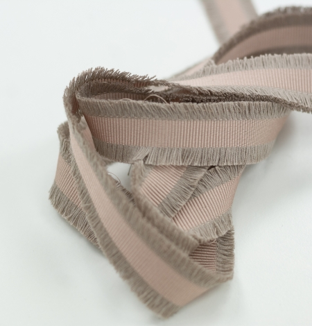 Beige brown silk ribbon with fringes on both sides. Photo 3