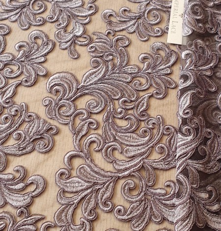Grey embroidery lace fabric. Photo 3