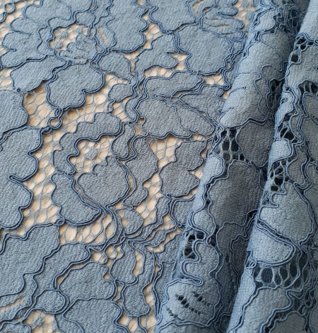 Bluish gray guipure lace fabric. Photo 3
