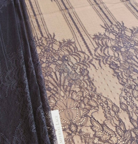 Navy blue lace fabric, French lace fabric. Photo 2