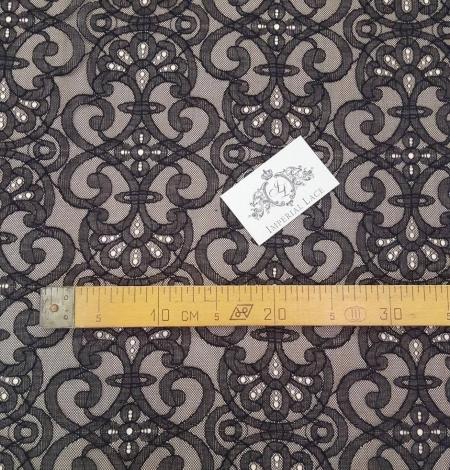 Black geometric lace fabric. Photo 5