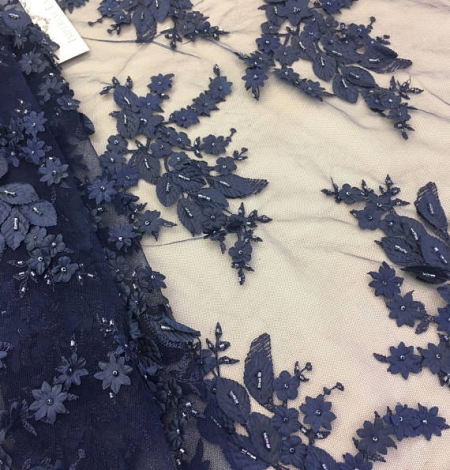 Navy blue 3D flowers lace fabric. Photo 1