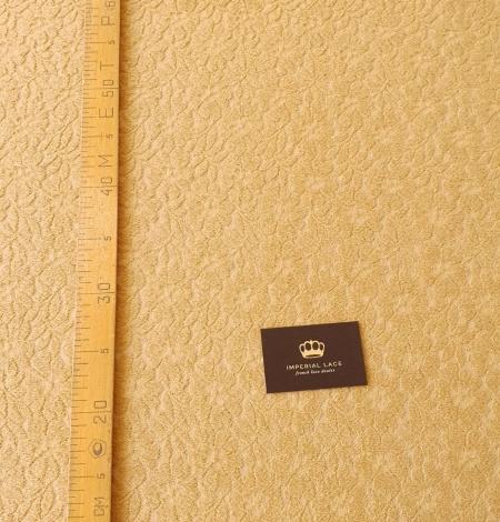 Mustard yellow 100% wool guipure lace fabric. Photo 8