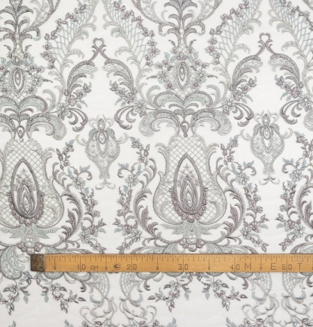 Grey beaded embroidery lace fabric. Photo 7