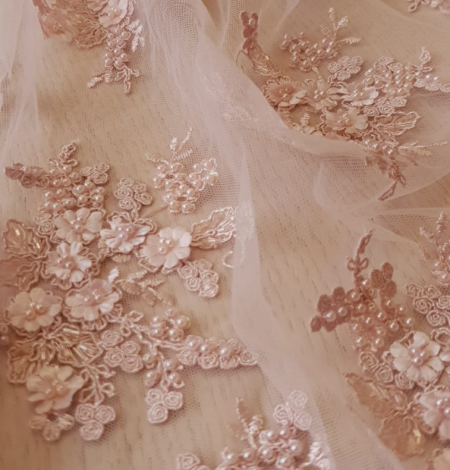 Powder pink 3D embroidery on tulle fabric. Photo 1