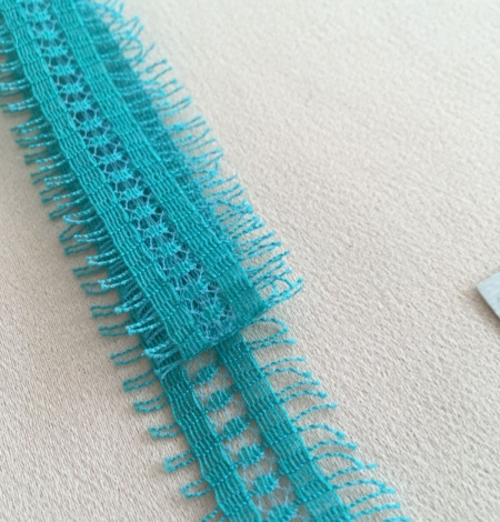 Green cotton lace trimming. Photo 4
