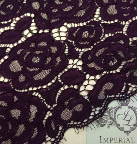 Dark Lilac Lace Fabric. Photo 1