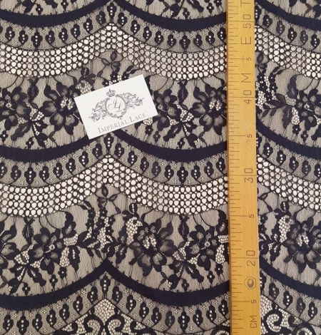 Black lace fabric, French Lace, Alencon Lace. Photo 3