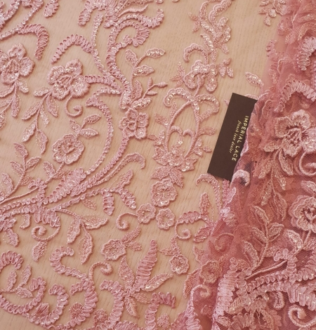 Raspberry pink floral pattern embroidery with sequins on soft tulle fabric. Photo 1