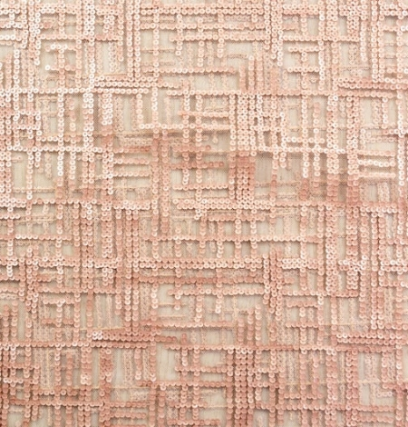 Rose gold sequins embroidered fabric . Photo 7