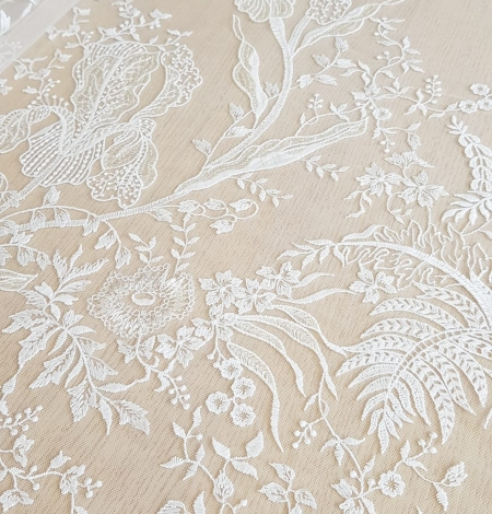 Imperial Lace floral organic embroidery on tulle fabric. Photo 4