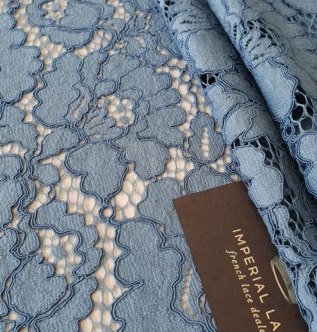 Bluish gray guipure lace fabric. Photo 2