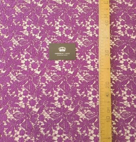 Lilac wool floral pattern macrame lace fabric. Photo 3