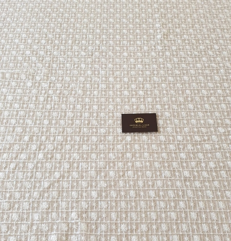 Ivory checkered floral beaded lace fabric. Photo 10