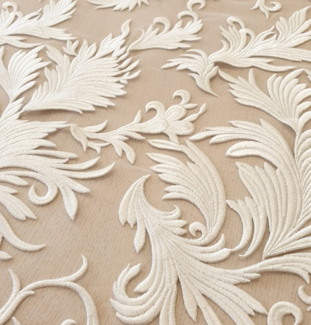 ivory thick embroidery on tulle fabric. Photo 5