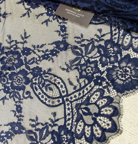 Dark blue floral pattern chantilly lace fabric. Photo 2